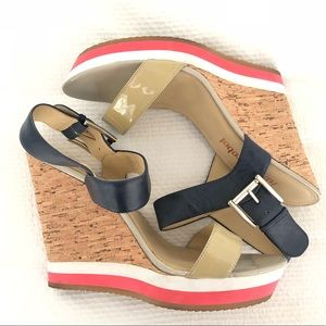 Cork wedges with navy and nude straps